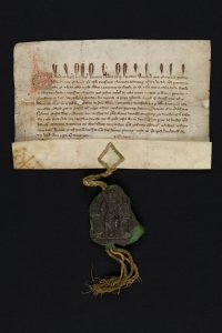 Edward I document. Parchment and Seal fragment.